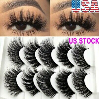 5 Pair 3D Mink False Eyelashes Wispy Cross Long Thick Fake E
