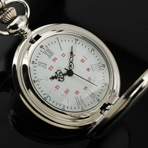 Silver Smooth Quartz Pocket Watch Fob Chain  Roman Numerals Dial for Men Women