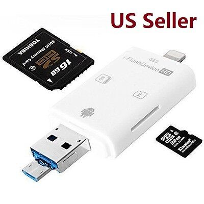 US SHIP iFlash Drive USB Micro SD/TF SDHC Card Reader Adapter for iPhone iPad