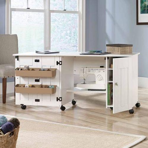 5 Of 9 New Sauder Sewing Machine Craft Table Drop Leaf Shelves Storage Bins Cabinets