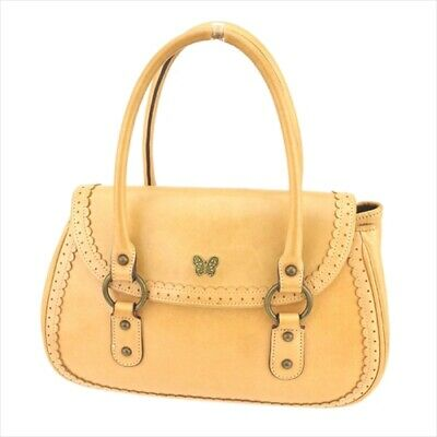 Used, Anna Sui bag Hand bag Beige Gold leather Woman Authentic Used T9394 for sale  Shipping to United States