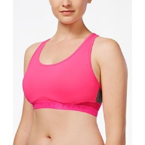 The Warm Up by Jessica Simpson Juniors Strappy High Impact Padded Sports Bra with Contrast Criss-Cross Piping