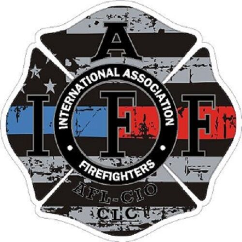2 Inch Reflective IAFF Blue Red Line Maltese Distressed Flag Sticker Decal