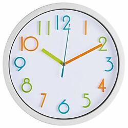 Colorful Kids Wall Clock 10 Inch Silent Non Ticking Quality Quartz Battery Oper