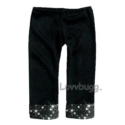 "Lovvbugg Black Sequins Leggings for 18"" American Girl Doll Clothes"