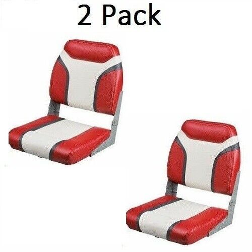 2 Boat Seats With Swivels Folding High Back Red /& Gray Pontoon Bass Fishing Seat