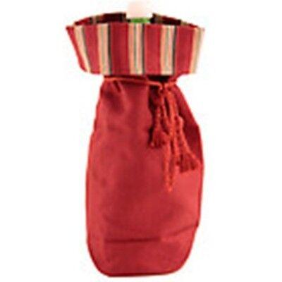 Longaberger Bag Beverage Red Stripe Fabric Qualtiy Wine Bottle Tote Set of 3