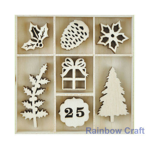 Kaisercraft Wooden Flourish packs / storage box 74 selections - Traditional Christmas