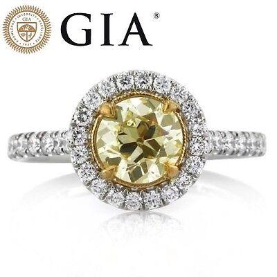 1.66 CARAT GIA NATURAL FANCY LIGHT GREENISH YELLOW DIAMOND ENGAGEMENT RING 18K