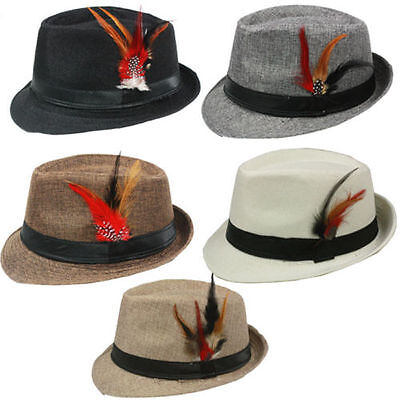 FEDORA with BAND & FEATHER Hat Trilby Gangster Vintage Style