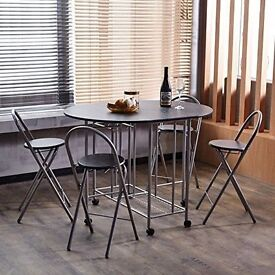 Coavas 5Pcs Butterfly Kitchen Folding Dining Table and Chair Set, Black