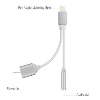 Lightning to 3.5mm Headphone Jack AUX Splitter Adapter For iPhone 11 XS X 8 7P