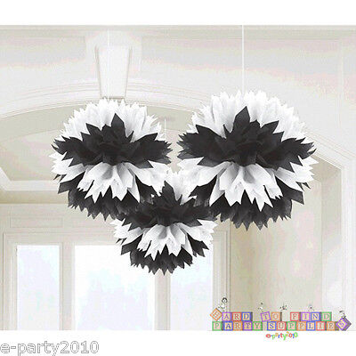 Black And White Bridal Shower (BLACK & WHITE FLUFFY DECORATIONS (3) ~ Wedding Bridal Baby Shower Party)
