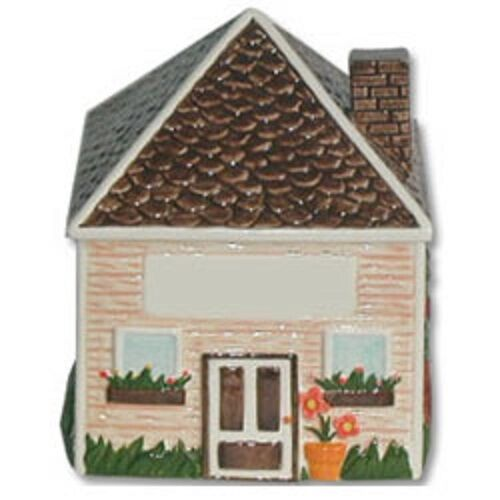 """Ceramic Cookie Snack Jar Peaked Roof House Building 6 7/8"""" tall NEW"""