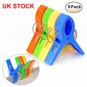 New UK Pack of 8 Large Bright Colour Plastic Beach Towel Pegs Clips to Sunbed
