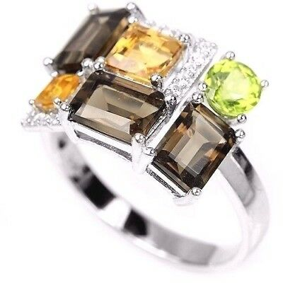 Geometric Style Smoky Quartz Citrine Peridot Ring Sterling Silver Size 8.25
