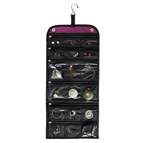 Jaimie Hanging Travel Jewelry Organizer - Double Sided and Portable - 23 Zipper
