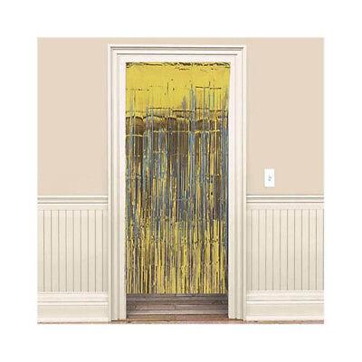 GOLD FOIL DOOR CURTAIN ~ Birthday Party Supplies Hanging Decoration Metallic