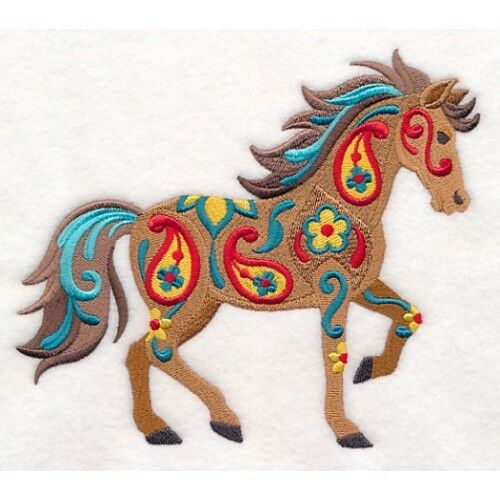 Embroidered Ladies Fleece Jacket - Flower Power Horse M9149