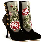Embroidered Black Suede Boots for Women