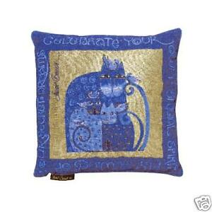 Decorative Tapestry Throw Pillows : Laurel Burch Indigo Blue Gold Feline Cat Decorative Tapestry Throw Pillow eBay