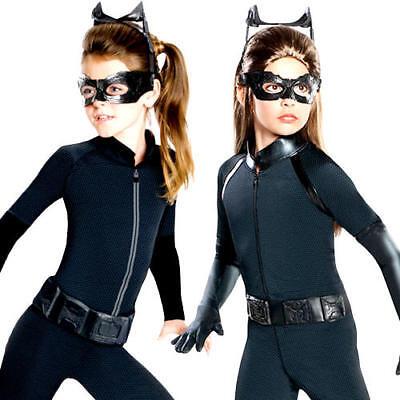 Catwoman Girls Fancy Dress Superhero Dark Knight Batman Kids Childrens (Catwoman Kostüme Kid)
