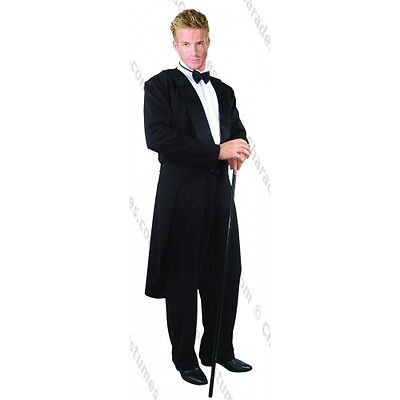 ADULT MENS MALE BLACK TUXEDO TAILCOAT COCKTAIL SUIT FORMALITIES COSTUME (Black Tuxedo Costume)