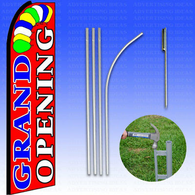 Feather Flag Swooper Advertising Flag Banner Sign 15 Tall Kit - Grand Opening R