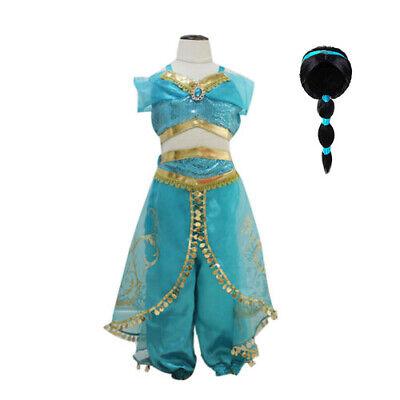 Fancy Dress Princess Jasmine (Princess jasmine Costume Outfit for Kids Girls Aladdin  Fancy Dress Split)