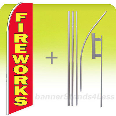 Fireworks Swooper Flag Kit Feather Flutter Banner Sign 15 Tall - Rb