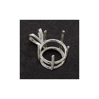 9Mm   15Mm Solid Sterling Silver Round Five Prong Pendant Setting
