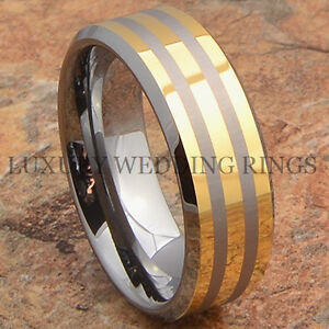 Mens-Tungsten-Ring-14K-Gold-Accent-Wedding-Band-Anniversary-Jewelry-Size-6-13