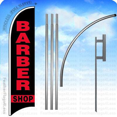Barber Shop Windless Swooper Feather Flag Kit 15 Banner Sign - Kb