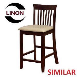 NEW LINON JAMES COUNTER STOOL DARK ESPRESSO FINISH W/ PADDED RICE COLOURED SEAT 109513749