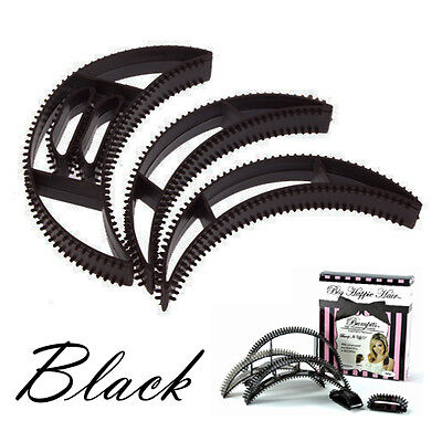 5 Pcs Bumpits Big Happie Hair Volumizing Inserts Hair Pump Set Bump it its BLACK