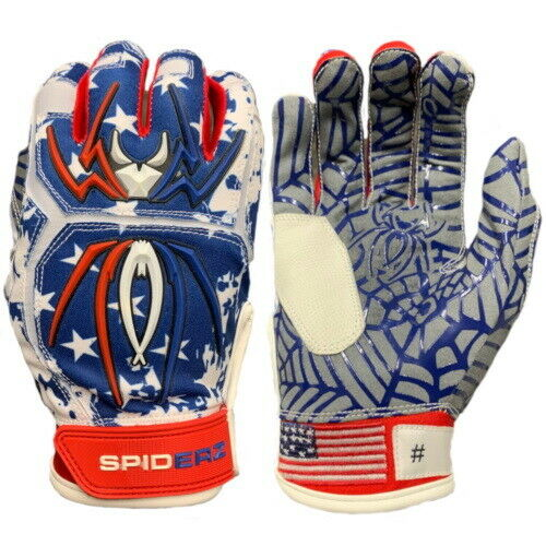 Spiderz Youth HYBRID Batting Gloves Pair-YXL-USA Flag