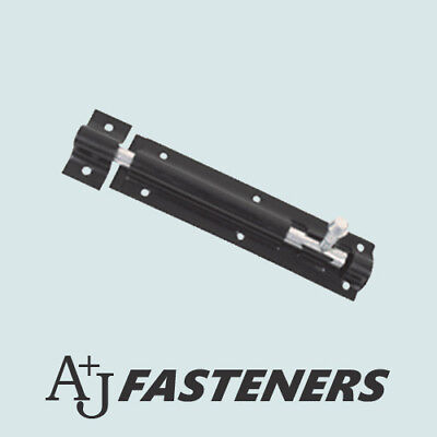 """TOWER BOLT GATE SHED LATCH 3"""" 4"""" 6"""" 8"""" 10"""" 12"""" EPOXY BLACK COATED STRAIGHT SLIDE"""