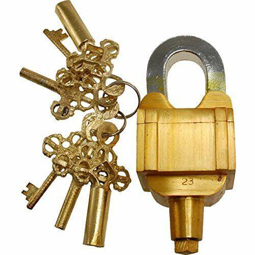 Brass Padlock Square Trick Puzzle Lock  with 6 Keys