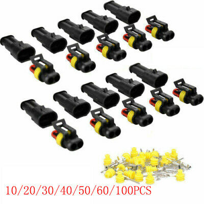 2-200pc 2-pin Car Waterproof Male Female Two Way Electrical Connector Plug Wire