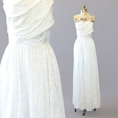 Vintage 80s 50s Boho Wedding Dress Floral satin Cocktail Party Maxi dress S