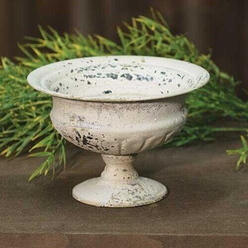 "New Aged White VINTAGE COMPOTE CANDLE HOLDER Metal Urn Pedestal Bowl Dish 6"""