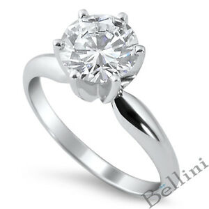 0.75 CT ROUND CUT D DIAMOND SOLITAIRE ENGAGEMENT RING 14K WHITE GOLD