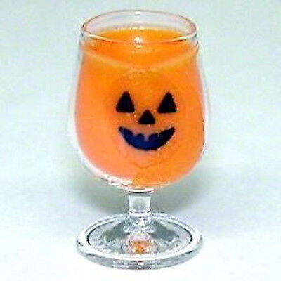 Dollhouse Halloween Jack O Lantern Pumpkin Punch Cocktail 1:12 Miniatures
