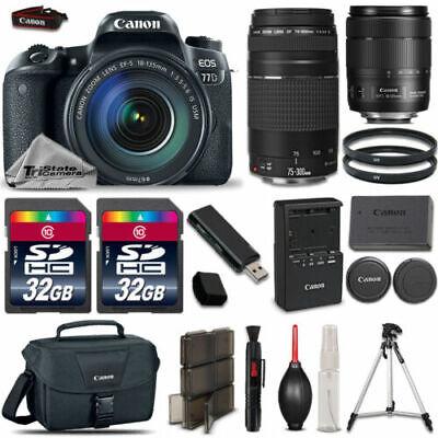 Canon EOS 77D DSLR Camera 1892C002 + 18-135mm USM + 75-300mm III + 64GB Bundle