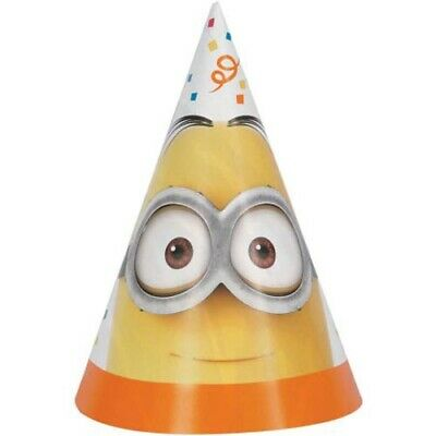 DESPICABLE ME MINION MADE CONE HATS (8) ~ Birthday Party Supplies Favors Yellow (Minion Favors)