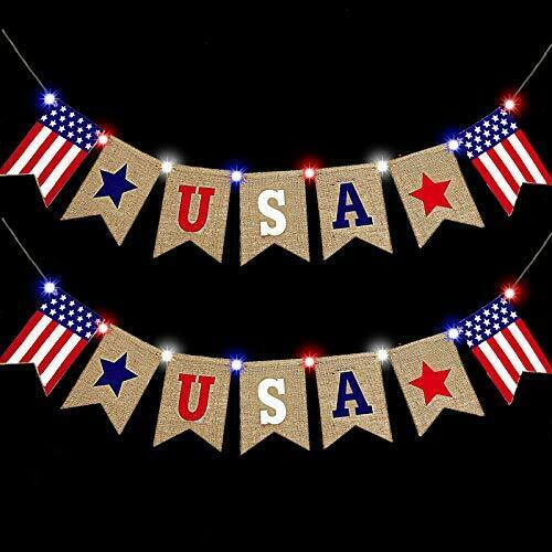 2 Pack 4th of July Decoration Burlap Banner with Lights, American Flag US