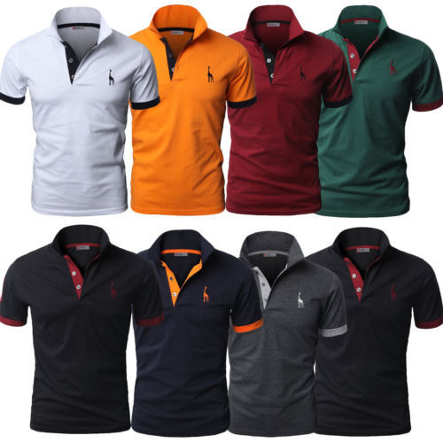 $8.54 - Stylish Mens Slim Fit POLO Shirts Solid Short Sleeve Casual T-shirt Tee Tops