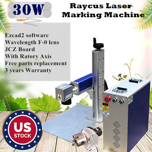 US 30W Split Fiber Raycus Laser Marking Machine Raycus Laser + Rotation Axis FDA