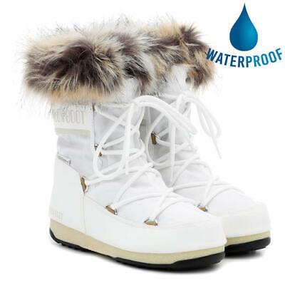 Moon Boots Monaco Low WP 2 Womens Ladies White Waterproof Snow Ski Winter Boots