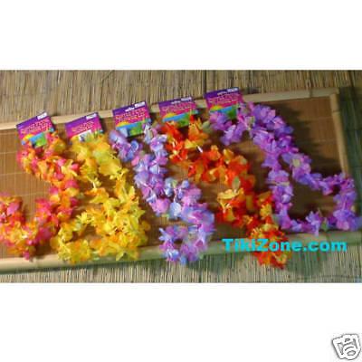 Multicolor Luau Ruffled Flower Leis (1 Doz)